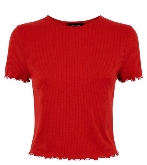 Red Ribbed Frill Edge T-shirt, New Look, €9.99