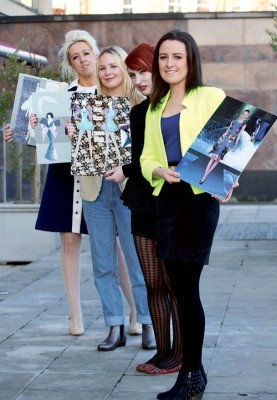 GTI students Sabrina Fallon, Fiona Bulfin, Aisling Kerr, and Claudia Taheny with their design boards ahead of last week's Irish Fashion Innovation Awards which took place in the Radisson Blu Hotel Galway on Thursday March 28 2013. Photo: Andrew Downes.